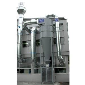 Filtro separatore centrifugo a ciclone stadio di pre-filtrazione negli impianti centralizzati di filtrazione polveri e trucioli. GGE impianti di aspirazione industriale